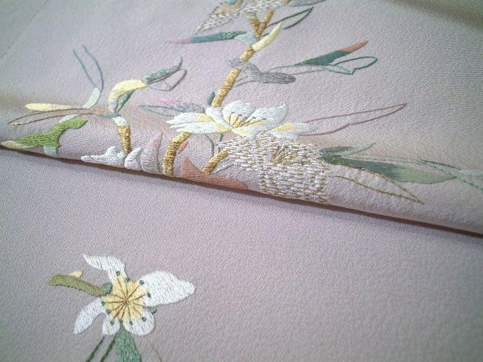 【送料無料】新品!正絹刺繍付下げ生地●豪華な花の総刺繍柄●ts054