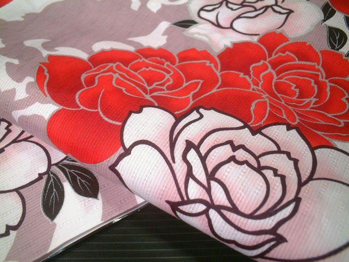 【送料無料】新品浴衣生地反物★NICOLE★ニコル★白地薔薇柄★yu1198