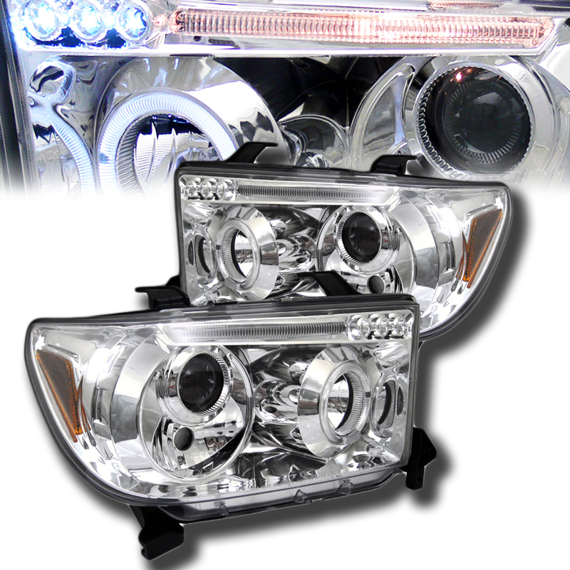 2007年~2013年 タンドラ プロジェクターヘッドライト クローム LED [ドレスアップ][USA直輸入][アメ車][逆輸入車][デイブレイク]