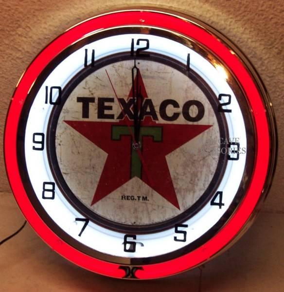 テキサコ18インチ ネオン付き掛け時計[アメリカ直輸入][プレゼントに大人気][送料無料][アメ車][逆輸入車][デイブレイク]
