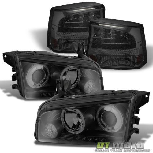 2006年~2008年ダッジ チャージャー用スモークヘッドライト+テールライトセット LED[USA直輸入][カスタム][ドレスアップ][アメ車][逆輸入車][デイブレイク]