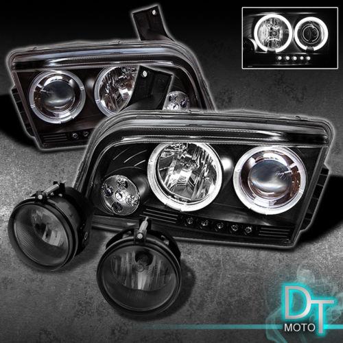 2006年~2010年ダッジ チャージャー用ブラック ヘッドライト+フォグライトセット LED