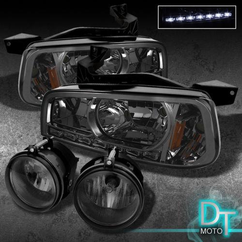 2006年~2010年ダッジ チャージャー用スモーク ヘッドライト+フォグライトセット LED[USA直輸入][カスタム][ドレスアップ][アメ車][逆輸入車][デイブレイク]