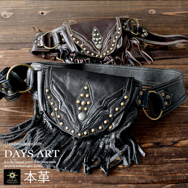 28eb71c0c38 Genuine leather leather bag bum-bag luster fringe bag studs riders bag  cowhide waist porch ...