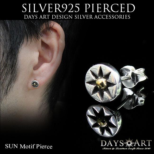 Pierced Earrings Silver 925 Sun Symbol Native Design Circle Men