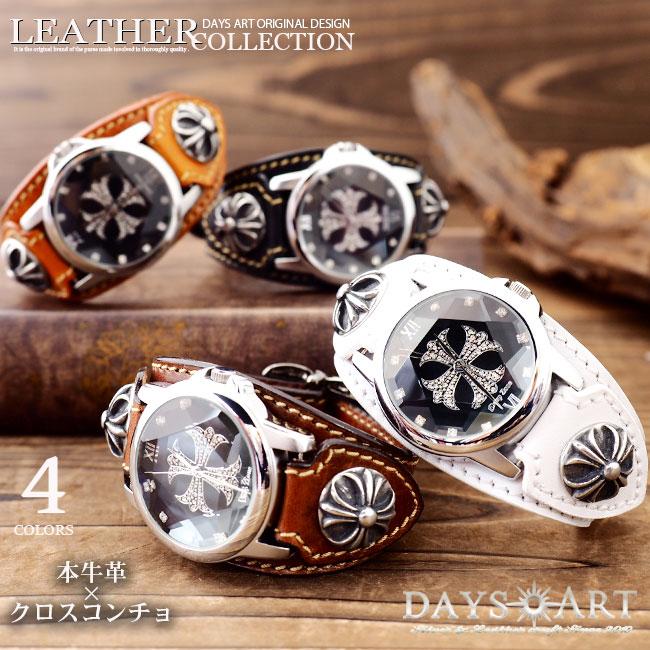 b4d27851d0 メンズ 本革 電池式 牛革ベルト バイカー クォーツ 腕時計 ゴシッククロスコンチョ dz-wc004