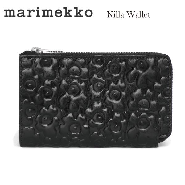 ★決算特価商品★ marimekkoマリメッコ NILLA 046482 NILLA ウニッコ型押しレザージップウォレット BLACK 財布 BLACK 財布 ブラック, La. Cosme:8387b334 --- uptic.ps
