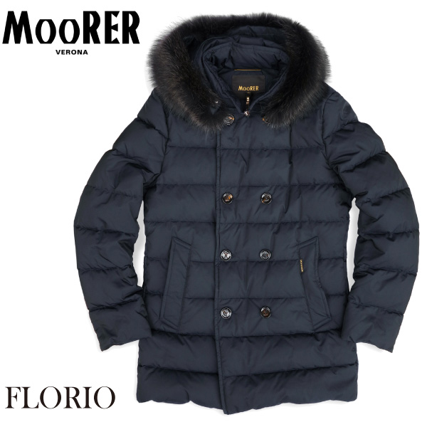 【MOORER】国内正規品 即納 ムーレー ダウンジャケット FLORIO-FUR/KM ダウンコート フローリオ メンズ BLU プレゼントにも最適