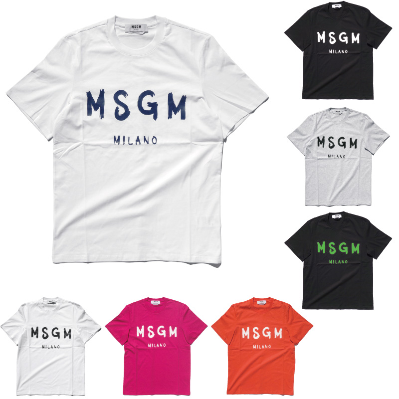 MSGM メンズ ブラッシュペイントロゴTシャツ クルーネック 半袖 エムエスジーエム PAINT BRUSHED LOGO T-SHIRT 2840MM97 207098