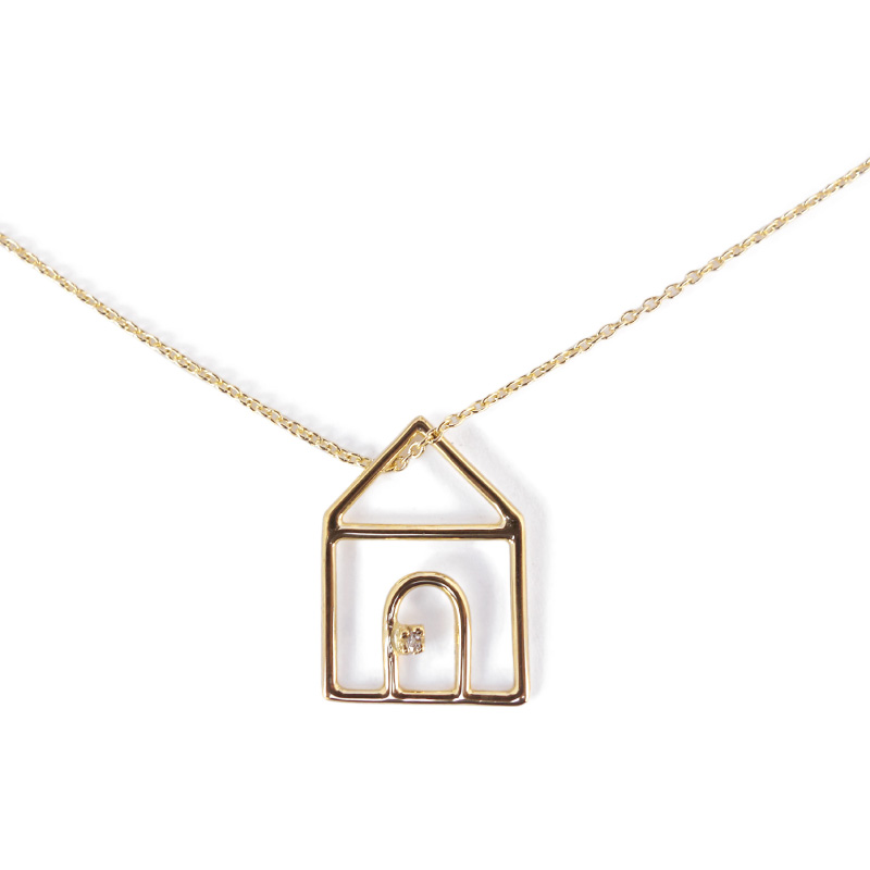 ALIITA アリータ CASITA BRILLANTE 家モチーフチェーンネックレス ホワイトダイヤモンド Chain Necklace 9kt yellow gold-white diamond アクセサリー プレゼント