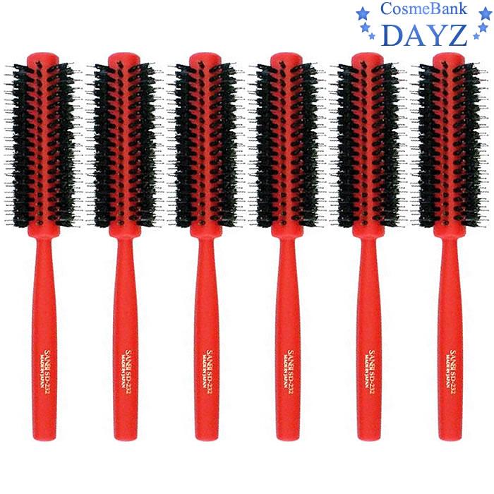 サンビー ロールブラシ SD-232 レッド(赤) 6点セット|ミックス植毛 ロールブラシ|