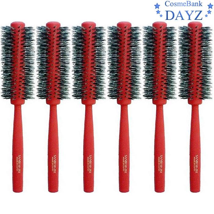 サンビー ロールブラシ SF-252 レッド(赤) 6点セット|ブローブラシ らせん植毛ブラシ|