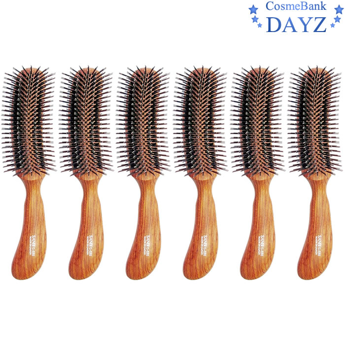 サンビー ブラシ L-331 6点セット|頭皮にやさしい豚毛|ツヤ出しブラシ|ヘアブラシ|ヘアーブラシ|