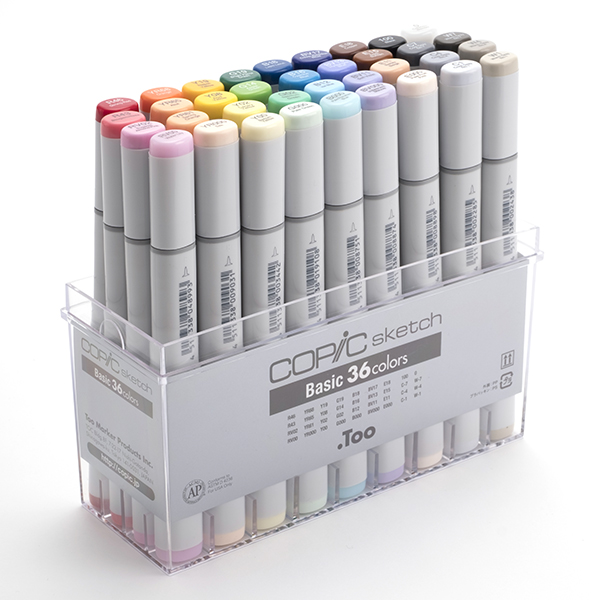 ■コピック スケッチ ベーシック36色セット型番:11779028各系統の基本色を揃えたスターティングセット(12A+12B+12Cの配色)アルコール染料インク・楕円形ボディデザイン用途・イラスト用途・教材用途・他