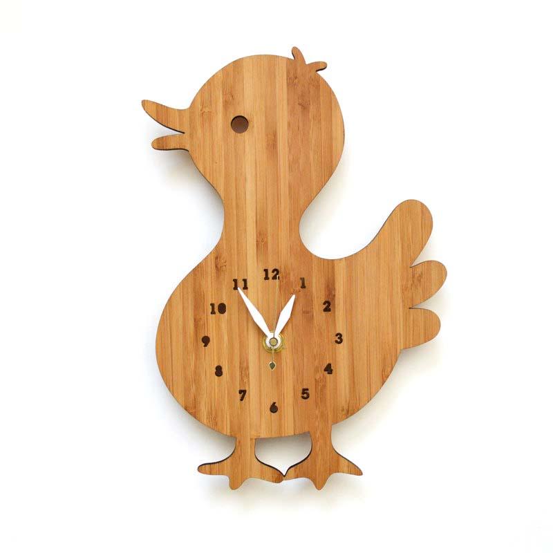 DECOYLAB デコイラボ DUCK 時計 壁掛け あひる かわいい 竹でできたナチュラルな素材で、カチカチ音がしない静音設計です。可愛らしい動物のシルエットや自然をイメージできるようなデザインです。