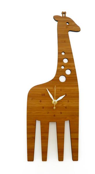 DECOYLAB デコイラボ GIRAFFE 時計 壁掛け キリン かわいい 竹でできたナチュラルな素材で、カチカチ音がしない静音設計です。可愛らしい動物のシルエットや自然をイメージできるようなデザインです。, Gardens Market:7c6fc48a --- kasumin.jp