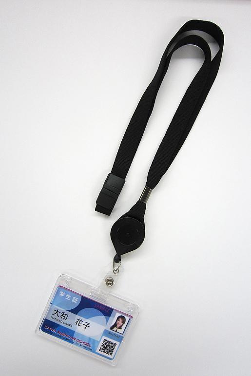 組み合わせH 【ネックストラップ コンビネーションモデル(クイックロックリール付)黒+カードケース(ハード/横型/上入れ/3枚用)】20セット <社員証・職員証・学生証・スタッフカード・店員・作業員証>