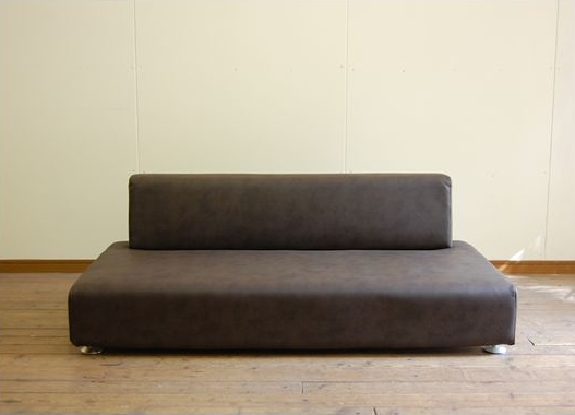 Lowdown sofa (PVC Leather Brown) simple Scandinavian style natural  mid-century stylish floor sofa line two made for domestic Japan two-seat  sofa