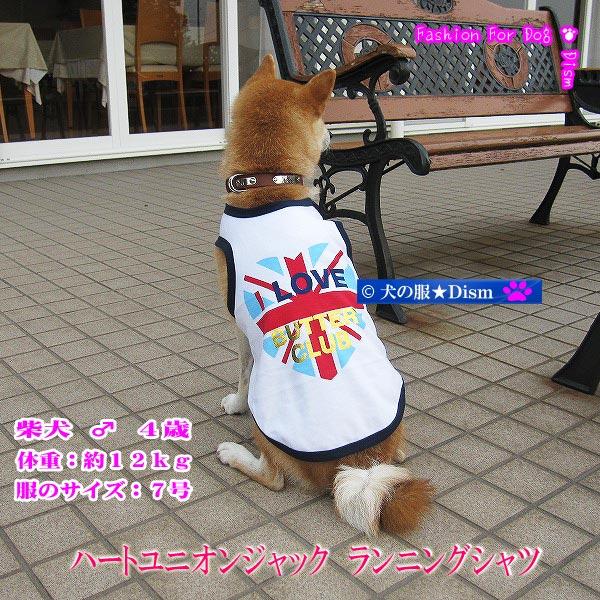 動きやすいカジュアルスタイル 犬服 ハートユニオンジャック ランニングシャツ ドッグウェア 最安値 中型犬用 犬の服2点購入でメール便送料無料 ファクトリーアウトレット