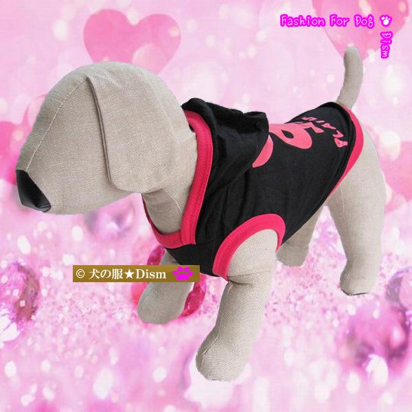 黒地にクールなビビットピンクが映える 犬服 PLAYDOG☆フード付きタンクトップ お得 薄手パーカー トラスト 犬の服2点購入でメール便送料無料 大型犬用 ドッグウェア