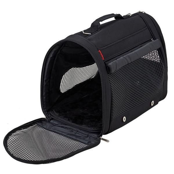 犬猫用 リュックキャリーバッグ バックパックキャリー フルカバー M ブラック