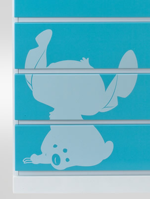 Disney chest 75 cm width 6 cardboard silhouette ( stitch ) Disney furniture ディズニータンス Disney fun Disney disney color furniture Disney Interior baby child birth gift storage room Disney HG chest
