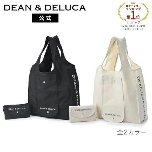 DEAN  DELUCA 公式ストア ショッピングバッグ (ブラック/ナチュラル) 人気 ロゴ入り おしゃれ シンプル エコバッグ 折りたたみ 軽量 コンパクト レジ袋 トートバッグ 買い物バッグ シンプル 実用的 ギフト 母の日 父の日