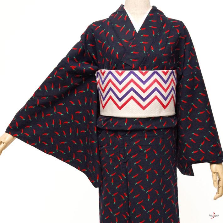 ふだん着物 ネル素材 トウガラシ 赤 紺 藍 野菜 植物 ポップ モダン 単衣 洗える着物 仕立て上がり カジュアル レディース