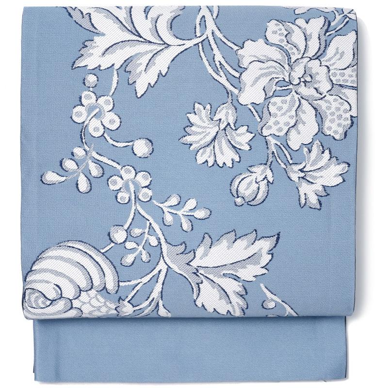 京袋帯 唐草 花 水色 グレー 白 モノトーン JAPAN MODE 着物 お太鼓 仕立て上がり 全通柄