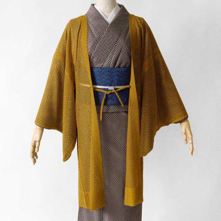 長羽織 レース からし 黄土 黄色 イエロー 薄羽織り 幾何学 コート 衿無し ノーカラー 和装 日本製 着物
