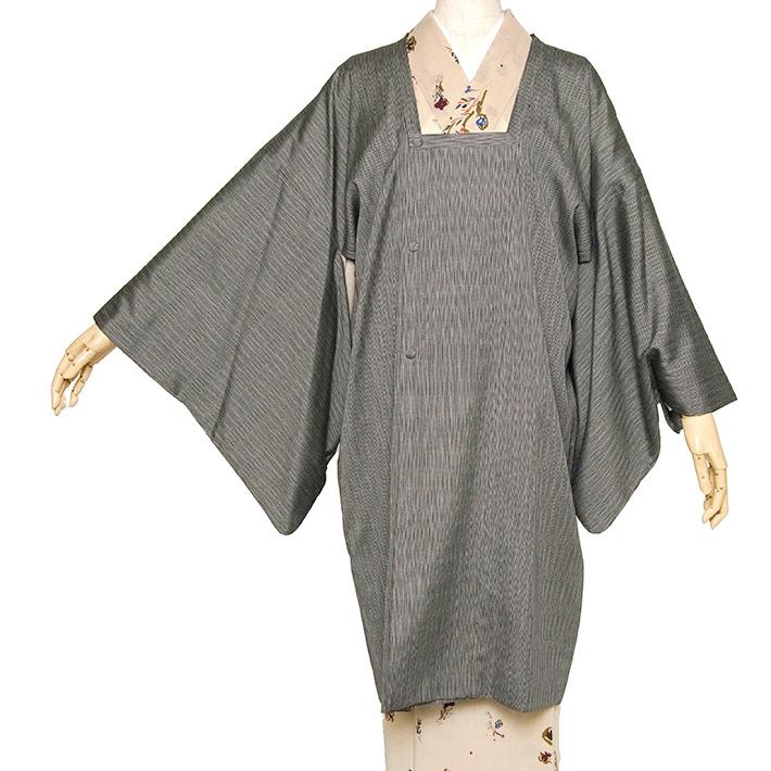 道行コート 絹 縞 袷 ストライプ グレー 黒 羽織