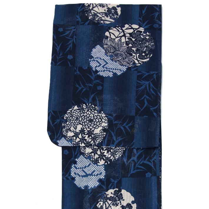 綿絽浴衣 単品 雪輪 紺 レディース 30代 40代 50代 女性用 藍 青 赤 花 レトロ 夏着物