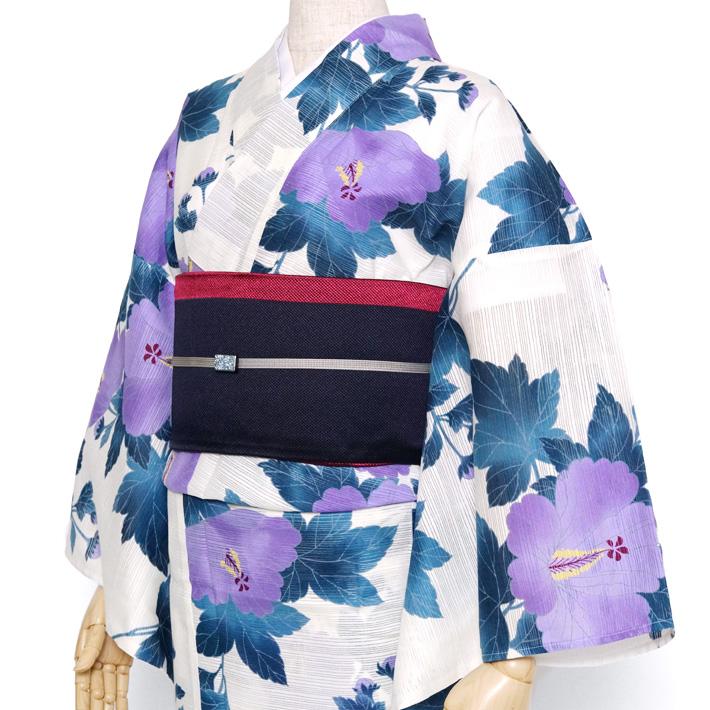 綿絽浴衣 単品 芙蓉 紫 おふ白 青緑 葉 草 花 古典 レトロ 夏着物 レディース 女性用 50代