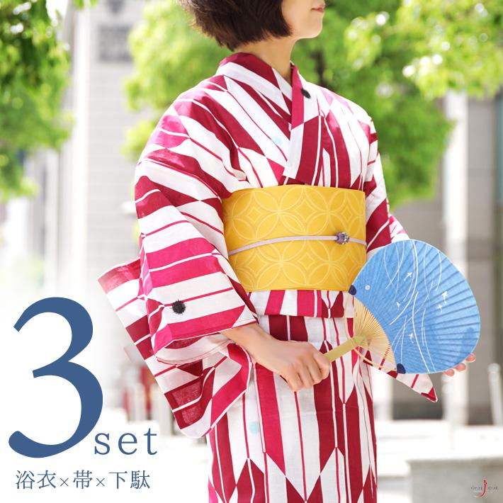 浴衣 3点セット 半幅帯 下駄 紅矢羽根 赤 白 ピンク 黄色 おふ白 古典柄 レトロ 夏着物 レディース 女性用