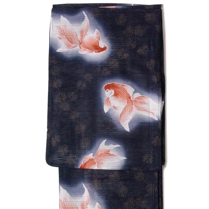 綿絽浴衣 単品 金魚 紺 レディース 30代 40代 50代 藍 黒 レトロ 夏着物 女性用