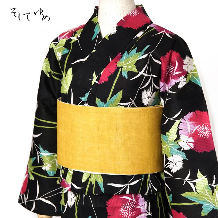 綿絽浴衣 そしてゆめ なでしこ 黒 レディース 30代 40代 50代 赤紫 緑 花 レトロ モダン 綿 絽 女性用