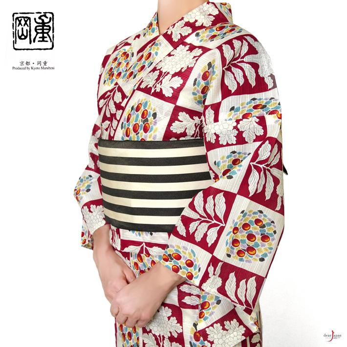 浴衣 岡重 花 赤 鶏頭 クリーム 綿絽 モダン 女性 単品 綿 30代 40代 50代
