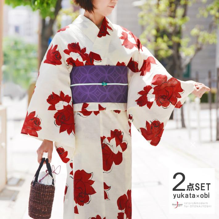 浴衣 2点 セット 薔薇 変わり織り オフ白 クリーム 赤 花 バラ モダン 綿 半幅帯 古典柄 夏着物 30代 40代 50代