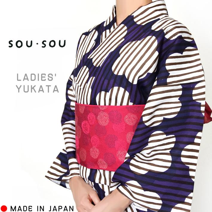 浴衣 sousou 花 縞 紫 白 モダン 女性 単品 綿 30代 40代 50代