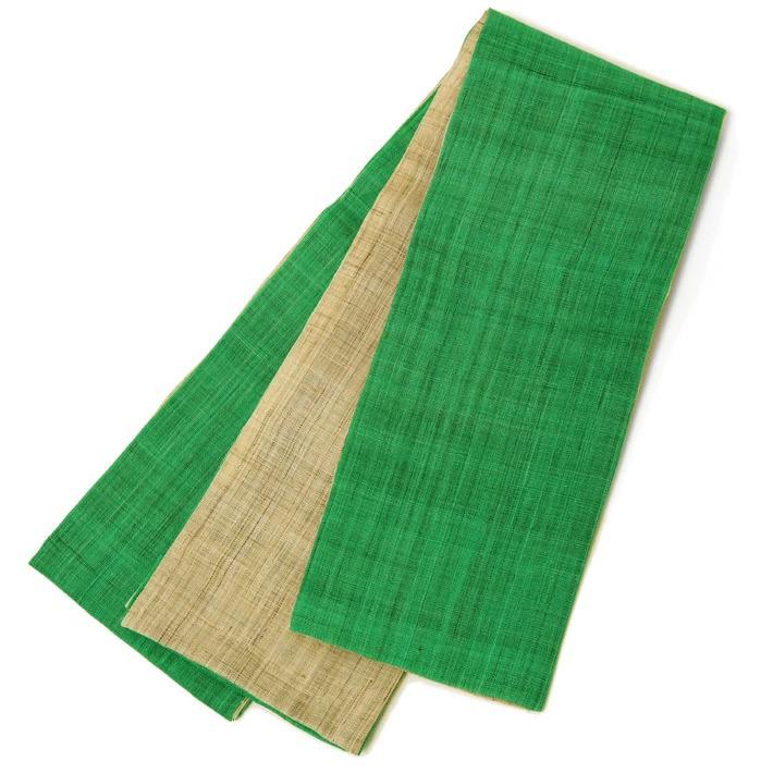 半幅帯 麻 無地 緑 ベージュ ブラウンリバーシブル シンプル 夏帯 日本製 麻帯 半巾帯 浴衣 夏着物