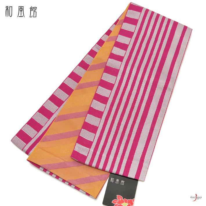 半幅帯 和風館 紫 パープル オレンジ 赤紫 幾何学 モダンストライプ 縞 ボーダー 古典 リバーシブル モダン 細帯