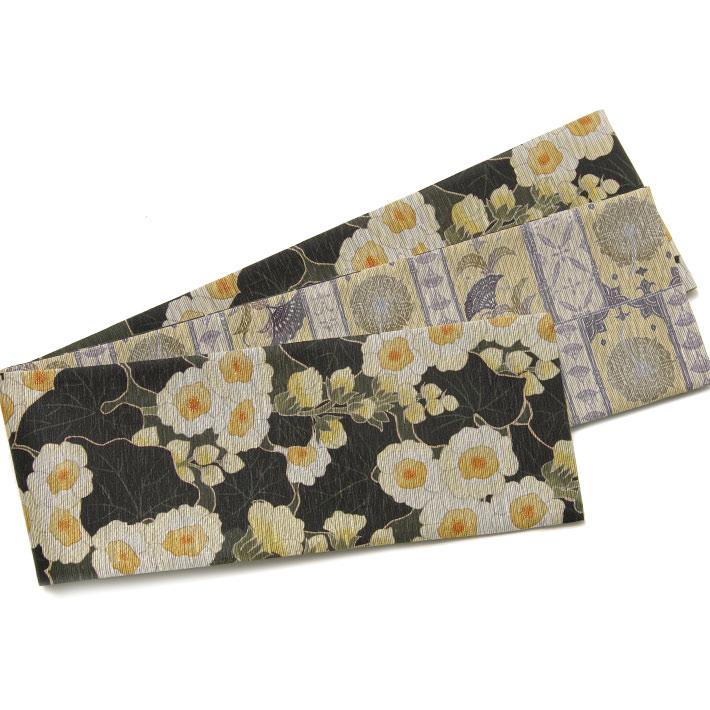 召しませ花 半幅帯 花あおい 葵 更紗風 深緑 黄色 グレー 日本製 帯 リバーシブル 細帯