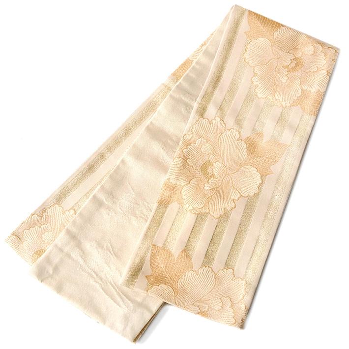 半幅帯 岡重 牡丹 縞 べ―ジュ クリーム ラメ 骸骨 ダンス アイボリー カジュアル 日本製 細帯 半巾帯