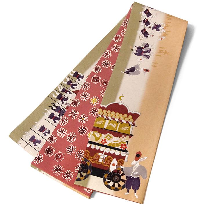 半幅帯 WAKKA 大兎祭 うさぎ 縁起物 祭囃子 ベージュ ピンク 茶色 黄緑 アニマル 正絹 リバーシブル 長尺 変わり結び