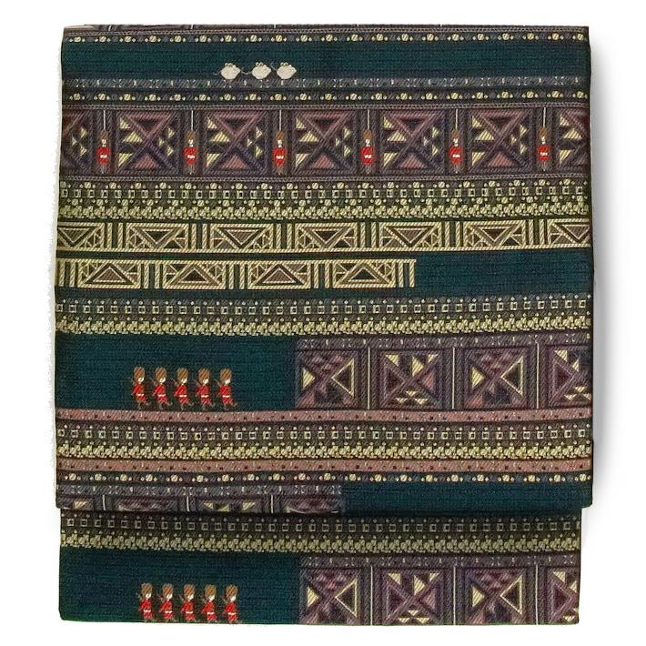 名古屋帯 西陣織 兵隊 ネズミ 幾何学 黒 緑 赤 茶 黄色 アニマル 日本製 九寸 着物 お太鼓