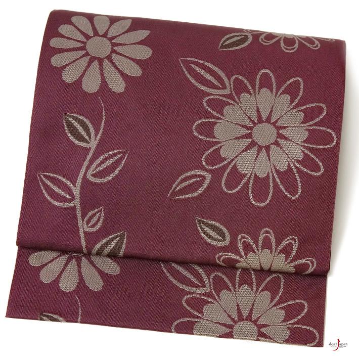 名古屋帯 紫 グレー こげ茶 花 シンプル シック レトロ モダン カジュアル ポリエステル