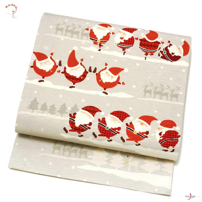 WAKKA 京袋帯 ダンシングサンタ グレー 赤 おふ白 トナカイ アニマル 雪 クリスマス 冬 正絹 お太鼓 一重太鼓