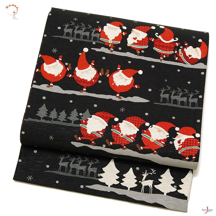 WAKKA 京袋帯 ダンシングサンタ 黒 赤 おふ白 トナカイ アニマル 雪 クリスマス 冬 正絹 お太鼓 一重太鼓
