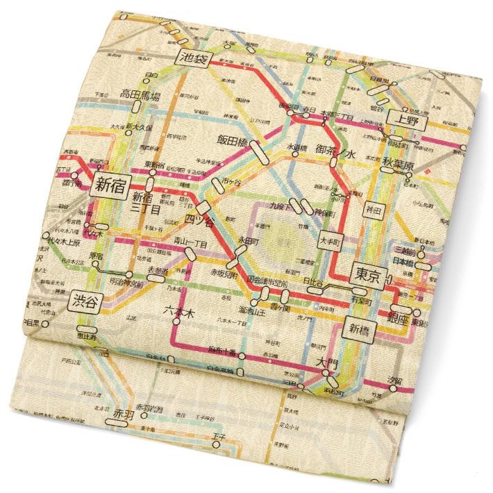 京袋帯 西陣織 染め帯 東京路線図 電車 駅 ベージュ カラフル モダン 地図 絹 日本製 着物 お太鼓