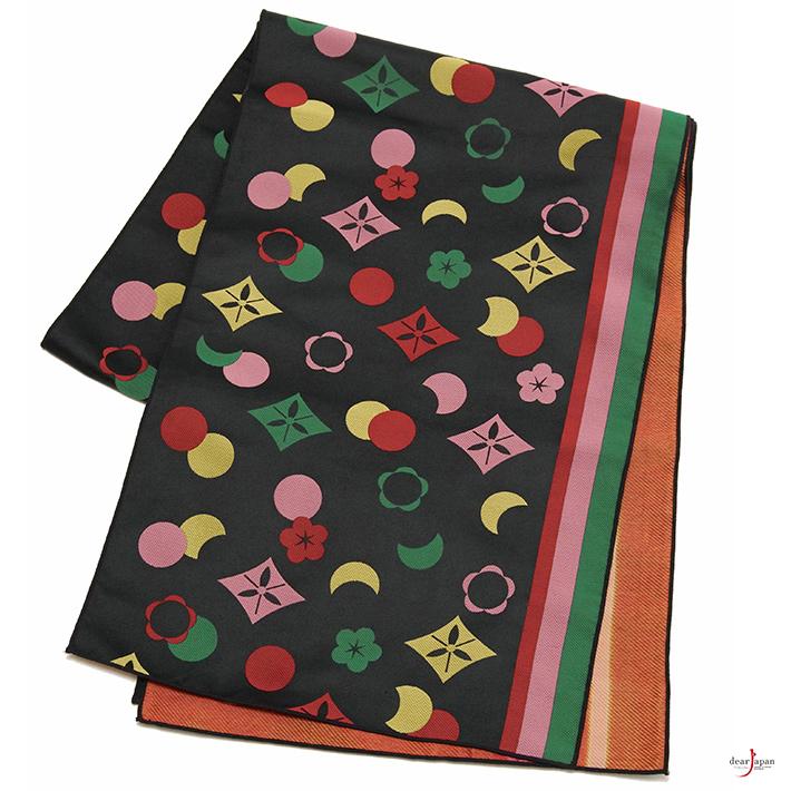 兵児帯 雪月花 伝統文様 黒 緑 ピンク 黄色 大人 和装 縞 幾何学 モダン